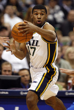 Rick Egan   |  The Salt Lake Tribune  Utah Jazz guard Ronnie Price (17) looks down court after stealing the ball from Dallas, in NBA action Utah vs. Dallas, in Salt Lake City, Saturday, March 26, 2011.