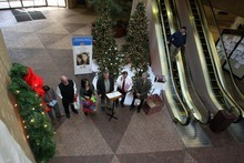 Steve Griffin  |  The Salt Lake Tribune  Salt Lake County Mayor Peter Corroon, center, and other Salt Lake County elected officials placed presents under Christmas trees at the Salt Lake County Government Center on Tuesday, December 6, 2011, kicking off a drive to collect Christmas gifts for children in the county's Youth Services and Shelter programs. The Salt Lake County Government Center will feature wish list items on a tree decorated with hand-crafted ornaments created by Your Service children. Residents can claim a wish list ornament and donate the items on the child's list.