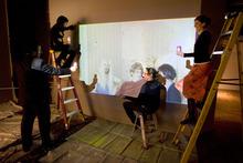 Steve Griffin  |  The Salt Lake Tribune Salt Lake Art Center employees in January prepare a space for James Franco's