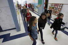 Francisco Kjolseth  |  The Salt Lake Tribune Geneva Elementary School students in Orem are let out of class on Tuesday, December 6, 2011. The Alpine school district is now the state's largest school district, according to newly released enrollment numbers.
