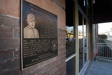 Paul Fraughton | The Salt Lake Tribune A plaque was dedicated on Thursday December 8th  at 224South 200West in Salt Lake City commemorating SLPD Officer Thomas F. Griffiths,who was killed in the line of duty near that location 98 years ago.   Thursday, December 8, 2011