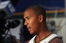 Steve Griffin  |  The Salt Lake Tribune  Raja Bell talks with reporters during Jazz media day in Salt Lake City Friday.
