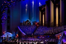 Tribune file photo The Mormon Tabernacle Choir and Orchestra performs this holiday season at Temple Square with baritone Nathan Gunn and narrator  Jane Seymour.