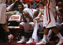 Kim Raff | The Salt Lake Tribune Utah's Kareem Storey reacts late in the game against Cal State-Fullerton at the Huntsman Center on Wednesday.