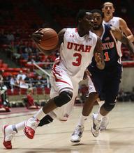 Kim Raff | The Salt Lake Tribune Utah's Anthony Odunsi drives tp the basket against Cal State-Fullerton at the Huntsman Center on Wednesday.