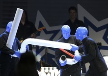 Scott Sommerdorf | Tribune file photo The Blue Man Group performs Friday, Saturday and Sunday at Kingsbury Hall.