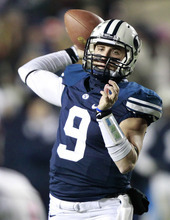 BYU quarterback Jake Heaps looks to pass during a game against New Mexico State during the first half of an NCAA college football game at LaVell Edwards Stadium, Saturday, Nov. 19, 2011, in Provo. (AP Photo/George Frey)