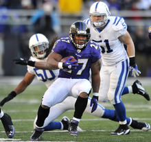 Baltimore Ravens running back Ray Rice, foreground, rushes past Indianapolis Colts defenders Philip Wheeler (50) and Pat Angerer in the second half of an NFL football game in Baltimore, Sunday, Dec. 11, 2011. (AP Photo/Gail Burton)