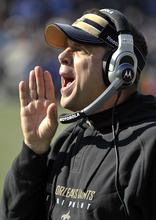 New Orleans Saints head coach Sean Payton yells from the sideline in the second quarter of an NFL football game against the Tennessee Titans on Sunday, Dec. 11, 2011, in Nashville, Tenn. (AP Photo/Joe Howell)