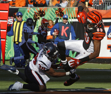 Cincinnati Bengals wide receiver Jerome Simpson (89) catches a 17-yard touchdown pass against Houston Texans safety Danieal Manning (38) in the first half of an NFL football game on Sunday, Dec. 11, 2011, in Cincinnati. (AP Photo/David Kohl)