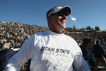 Chris Detrick  |  The Salt Lake Tribune Utah State head coach Gary Andersen celebrates after winning the game at Romney Stadium Saturday November 26, 2011. Utah State defeated Nevada 21-17 and will be bowl-eligible for the first time since 1997.