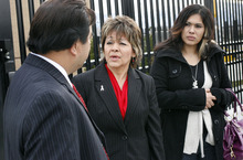 Scott Sommerdorf  |  The Salt Lake Tribune                       Sergio Gonzalez Garcia's mother Rosa Gonzalez, center, speaks with lawyer Robert Culas outside West Valley City Immigration Court. The judge ordered deportation for Gonzalez-Garcia for an assault charge in jail, Wendy Castellanos, Gonzalez-Garcia's sister, is at right.
