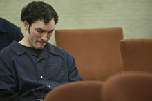 Chris Detrick  |  The Salt Lake Tribune Benjamin Rettig listens during his sentencing at the 4th District Court in American Fork on Tuesday, Dec. 13, 2011. Rettig was sentenced to 25 years to life in prison for his involvement in the Nov. 16, 2009 killing of retired BYU professor Kay Mortensen.