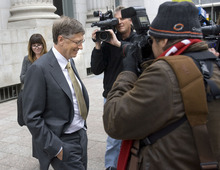 Al Hartmann  |  The Salt Lake Tribune file photo Bill Gates leaves federal court in Salt Lake City on Nov. 21 after the first day testimony in the lawsuit pitting Novell against Microsoft.