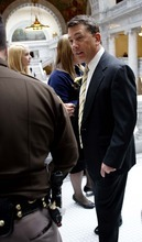 TRENT NELSON  |  The Salt Lake Tribune Rep. Stephen Sandstrom, R-Orem, has received stepped-up security in the wake of threats against him and other lawmakers. Overheated rhetoric has been fueled by extremists on both sides of the immigration issue. The Utah Highway Patrol receives daily briefings on security concerns and intelligence and has investigations open.