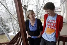 Francisco Kjolseth     The Salt Lake Tribune Vicki Whiting, a professor of management at Westminster College's Gore School of Business, jokes around with her son Kevin at their home in Jeremy Ranch on Tuesday, December 13, 2011. Whiting has written a book about her travails diagnosing her son Kevin, 17, with a mysterious illness as she navigated the health care system to find the best care for her son. In addition to its therapeutic value for Whiting, the book has been adopted as a manual for patient care by many Utah health-care providers.