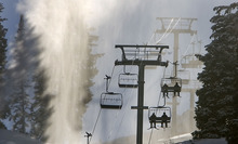 Al Hartmann  |  The Salt Lake Tribune Skiers ride the Collins lift while snowmaking machines add snow to the mountain Monday December 5.    Just because it's cold doesn't mean to cut back on hydration when excercising in the winter.