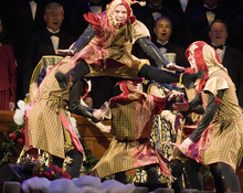 Paul Fraughton | The Salt Lake Tribune  Dancers perform an energetic  dance at The Mormon Tabernacle Choir's Christmas extravaganza  at the LDS Conference Center.   Thursday, December 15, 2011