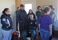Porter Hancock comes home to a home built in less then eight weeks  eight weeks by volunteers for the Hancock family after Porter was paralyzed while playing in a South Summit High School football game  on  Oct. 7, 2011 and was released from the hospital, Friday, Dec. 16, 2011 in Oakley,  Utah.   Courtesy Hancock Family