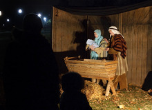 Leah Hogsten | The Salt Lake Tribune   Richard and Laurie Brown of Provo re-enact the manger scene of Joseph, Mary and baby Jesus in Bethlehem  during the live nativity performance at Liberty Park,  Saturday, December 17, 2011.