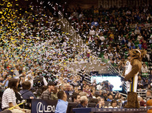 Jeremy Harmon  |  The Salt Lake Tribune  The Jazz Bear fires confetti into the crowd during the Utah Jazz scrimmage at EnergySolutions Arena in Salt Lake City, Saturday, Dec. 17, 2011.