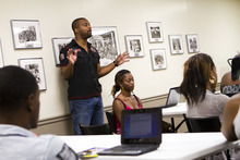 Michael Thomas, local advocate in Tampa, Fla., works with students in the American Academy's No Dropouts program. Courtesy photo