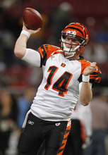 Cincinnati Bengals quarterback Andy Dalton warms up before the start of an NFL football game between the St. Louis Rams and the Cincinnati Bengals Sunday, Dec. 18, 2011, in St. Louis. (AP Photo/Jeff Roberson)
