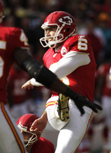 Kansas City Chiefs kicker Ryan Succop (6) boots a field goal during the first half of an NFL football game against the Green Bay Packers at Arrowhead Stadium in Kansas City, Mo., Sunday, Dec. 18, 2011. (AP Photo/Charlie Riedel)