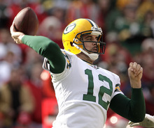 Green Bay Packers quarterback Aaron Rodgers passes during the first half of an NFL football game against the Kansas City Chiefs on Sunday, Dec. 18, 2011, in Kansas City, Mo. (AP Photo/Charlie Riedel)