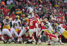 Kansas City Chiefs' Ryan Succop (6) kicks a field goal during the first half of an NFL football game against the Green Bay Packers at Arrowhead Stadium in Kansas City, Mo., Sunday, Dec. 18, 2011. (AP Photo/Ed Zurga)
