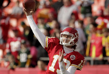 Kansas City Chiefs quarterback Ricky Stanzi (13) passes before an NFL football game against the Green Bay Packers Sunday, Dec. 18, 2011, in Kansas City, Mo. (AP Photo/Charlie Riedel)