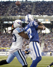 Indianapolis Colts wide receiver Reggie Wayne, right, reaches for a catch for a touchdown in front of Tennessee Titans free safety Michael Griffin during the third quarter of an NFL football game in Indianapolis, Sunday, Dec. 18, 2011. (AP Photo/AJ Mast)