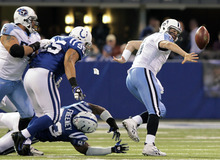 Tennessee Titans quarterback Matt Hasselbeck, right, makes a throw under pressure from Indianapolis Colts defenders Dwight Freeney, bottom, and Fili Moala during the second quarter of an NFL football game in Indianapolis, Sunday, Dec. 18, 2011. Hasselbeck completed the pass to Chris Johnson for 17 yards. (AP Photo/AJ Mast)