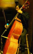 Kim Raff | The Salt Lake Tribune Freelance bass player Ben Henderson rehearses for Kurt Bestor's Christmas concert at Abravanel Hall in Salt Lake City on Thursday, Dec. 8, 2011.