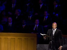 Alex Boyé of Salt Lake City performs in the Tabernacle at Temple Square to commemorate the 30th anniversary of the revelation ending the ban on blacks in the LDS priesthood, Sunday June 8, 2008. The Tabernacle on Temple Square in Salt Lake City was full with people who turned out for the program and fireside commemorating the 1978 revelation. 06/08/2008 Jim Urquhart/The Salt Lake Tribune