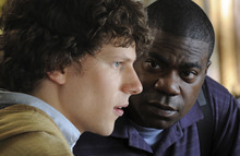 Jesse Eisenberg (left) and Tracy Morgan co-star in