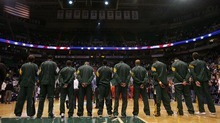 Steve Griffin  |  The Salt Lake Tribune  The Utah Jazz stand as during the singing of the National Anthem prior to the start of their game against the  Portland Trail Blazers at EnergySolutions Arena in Salt Lake City, Utah Wednesday, December 21, 2011.