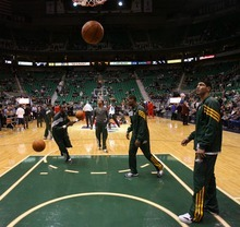 Steve Griffin  |  The Salt Lake Tribune  The Utah Jazz warm up prior to the start of their game against the  Portland Trail Blazers at EnergySolutions Arena in Salt Lake City, Utah Wednesday, December 21, 2011.