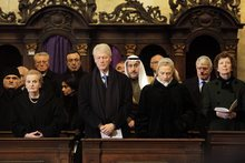 Former U.S. Secretary of State Madeleine Albright, former President Bill Clinton and Secretary of State Hillary Clinton, from left, attend the state funeral of former Czech President Vaclav Havel in the St. Vitus Cathedral in Prague on Friday, Dec. 23, 2011.