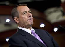 Speaker of the House John Boehner of Ohio pauses at a news conference to announce an agreement for a 2-month extension to the payroll tax cut on Capitol Hill Thursday, Dec. 22, 2011, in Washington.  (AP Photo/Evan Vucci)