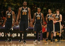 Steve Griffin     The Salt Lake Tribune  The Utah Jazz starters take the floor following a time out during first half action in the Jazz Lakers game at the Staples Center in  in Los Angeles, CA Tuesday, December 27, 2011.