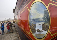 Al Hartmann  |  The Salt Lake Tribune Intricate art work graces the side of  Union Pacific steam locomotive 199 f at Golden Spike National Historic Site visitor center in northwestern Utah on Wednesday, Dec. 28, 2011. Golden Spike holds its annual Winter Steam Festival on December 28-30 Folks can get up close to tour the locomotive cab, see steam demonstrations as well as take a ride on a muscle powered handcart.