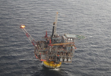 Jon Fahey  |  The Associated Press The Perdido oil platform is 200 miles south of Galveston, Texas, in the Gulf of Mexico. The platform is operated by Shell Oil Co. and owned by Shell, Chevron and British Petroleum.
