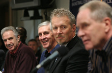 Leah Hogsten  |  The Salt Lake Tribune Phil Johnson, left, Jerry Sloan and Jazz CEO Greg Miller share a laugh at Jazz general manager Kevin O'Connor's remarks during a news conference Thursday in which Sloan announced his resignation as head coach. Sloan's resignation brings to a stunning end a long career in Utah that included most of his 1,221 career coaching victories and induction into the basketball Hall of Fame.
