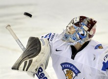 Finland goalie Sami Aittokallio eyes the puck during the second period of an IIHF World Junior Championships hockey game against the Czech Republic in Edmonton, Alberta, on Saturday, Dec. 31, 2011. (AP Photo/The Canadian Press, Nathan Denette)