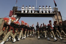 Newly recruited Indian Border Security Force soldiers participate in a passing-out parade ceremony in Humhama, on the outskirts of Srinagar, India, Saturday, Dec. 31, 2011. A total 444 recruits, formally inducted into the BSF, will join Indian soldiers fighting separatist Islamic guerrillas in Kashmir to help end an insurgency that started in 1989. (AP Photo/Dar Yasin)