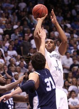 Leah Hogsten | The Salt Lake Tribune   BYU forward Brandon Davies (0)  had six points in the first half.  Brigham Young University Cougars lead San Diego 34-24 Saturday, December 31, 2011 at the Marriott Center.