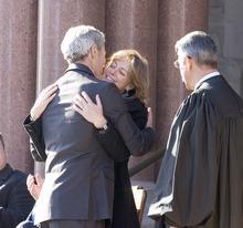 Paul Fraughton | The Salt Lake Tribune. Mayor Ralph Becker hugs Kate Kopischke on Tuesday, Jan. 3, 2012, after he took the oath of office for his second term as mayor of Salt Lake City. The oath was administered by Judge Andrew Valdez at Salt Lake City Hall.