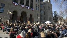 Paul Fraughton | The Salt Lake Tribune. Salt Lake City Mayor Ralph Becker speaks at his swearing-in ceremony  Tuesday, Jan. 3, 2012, on the steps of the Salt Lake City Hall.
