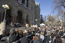 Paul Fraughton | The Salt Lake Tribune. Salt Lake City Mayor Ralph Becker speaks at his swearing-in ceremony  Tuesday, Jan. 3, 2012, on the steps of Salt Lake City Hall.